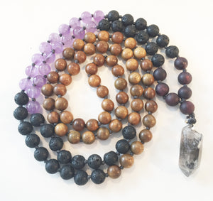 8mm Green Sandalwood & Amethyst 108 Knotted Mala Necklace with Crystal Pendant
