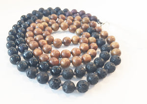 8mm Green Sandalwood & Blue Tigers Eye 108 Knotted Mala Necklace with Crystal Pendant