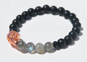 Matte Obsidian and Labradorite with Large Alien Head Stretch Bracelet