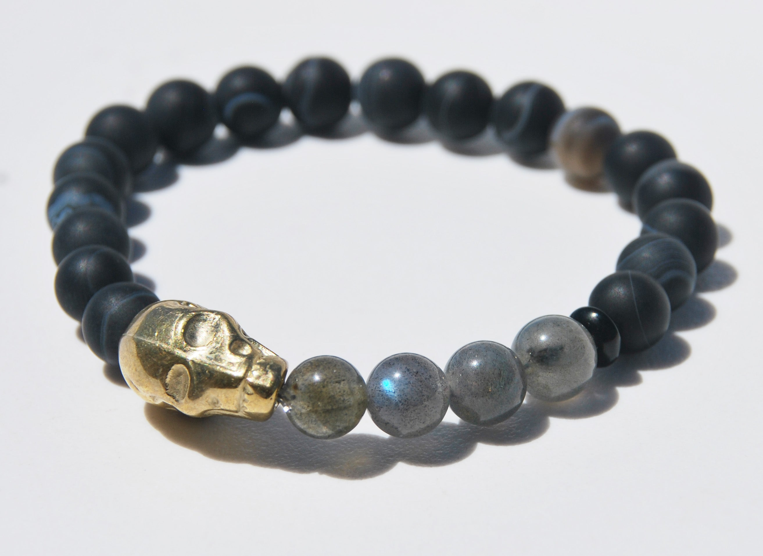 Matte Sardonox and Labradorite with Large Alien Head Stretch Bracelet
