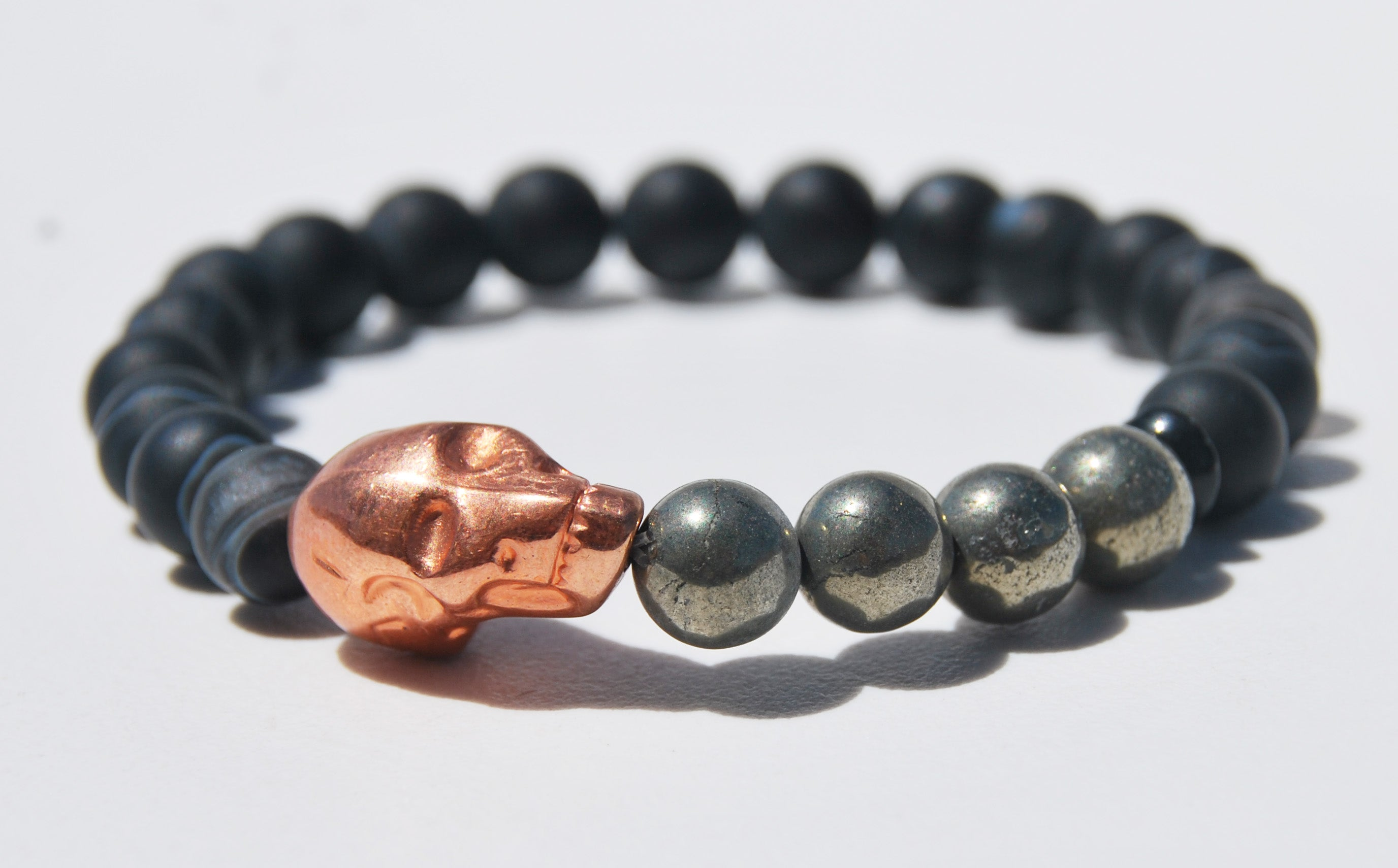 Matte Sardonox and Pyrite with Large Alien Head Stretch Bracelet