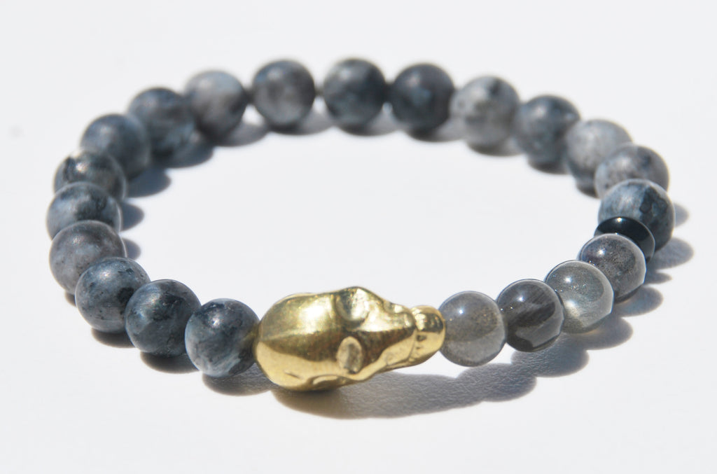Matte Larvikite and Labradorite with Large Alien Head Stretch Bracelet