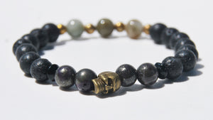 8mm Lava, Pyrite & Labradorite Stretch Bracelet with Brass Skull