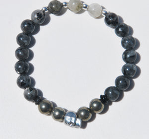8mm Larvikite, Pyrite & Labradorite Stretch Bracelet with Silver Skull