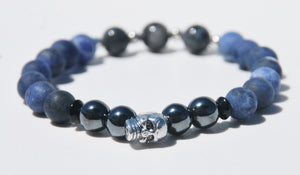 8mm Matte Sodalite, Pyrite & Labradorite Stretch Bracelet with Skull