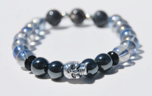 8mm Gasoline Crystal, Pyrite & Labradorite Stretch Bracelet with Skull
