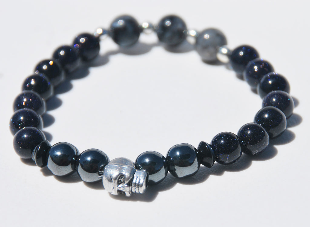 8mm Blue Sandstone, Hematite & Labradorite Stretch Bracelet with Skull