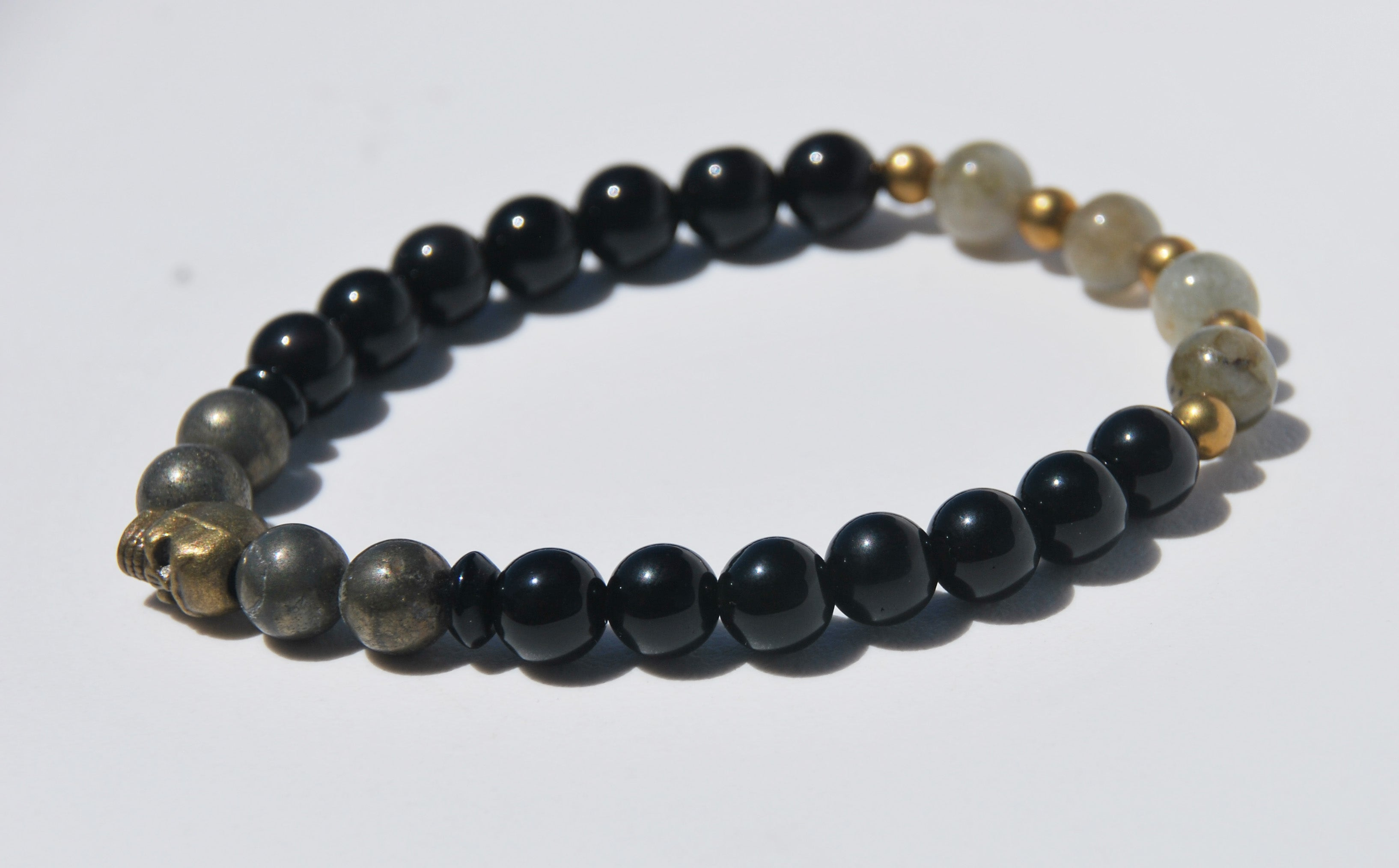 8mm Obsidian, Hematite & Labradorite Stretch Bracelet with Skull
