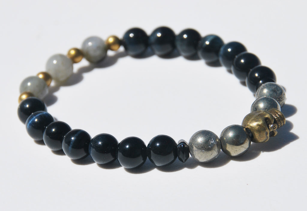 8mm Blue Tigers Eye, Hematite & Labradorite Stretch Bracelet with Skull