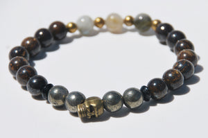 8mm Bronzite, Hematite & Labradorite Stretch Bracelet with Skull