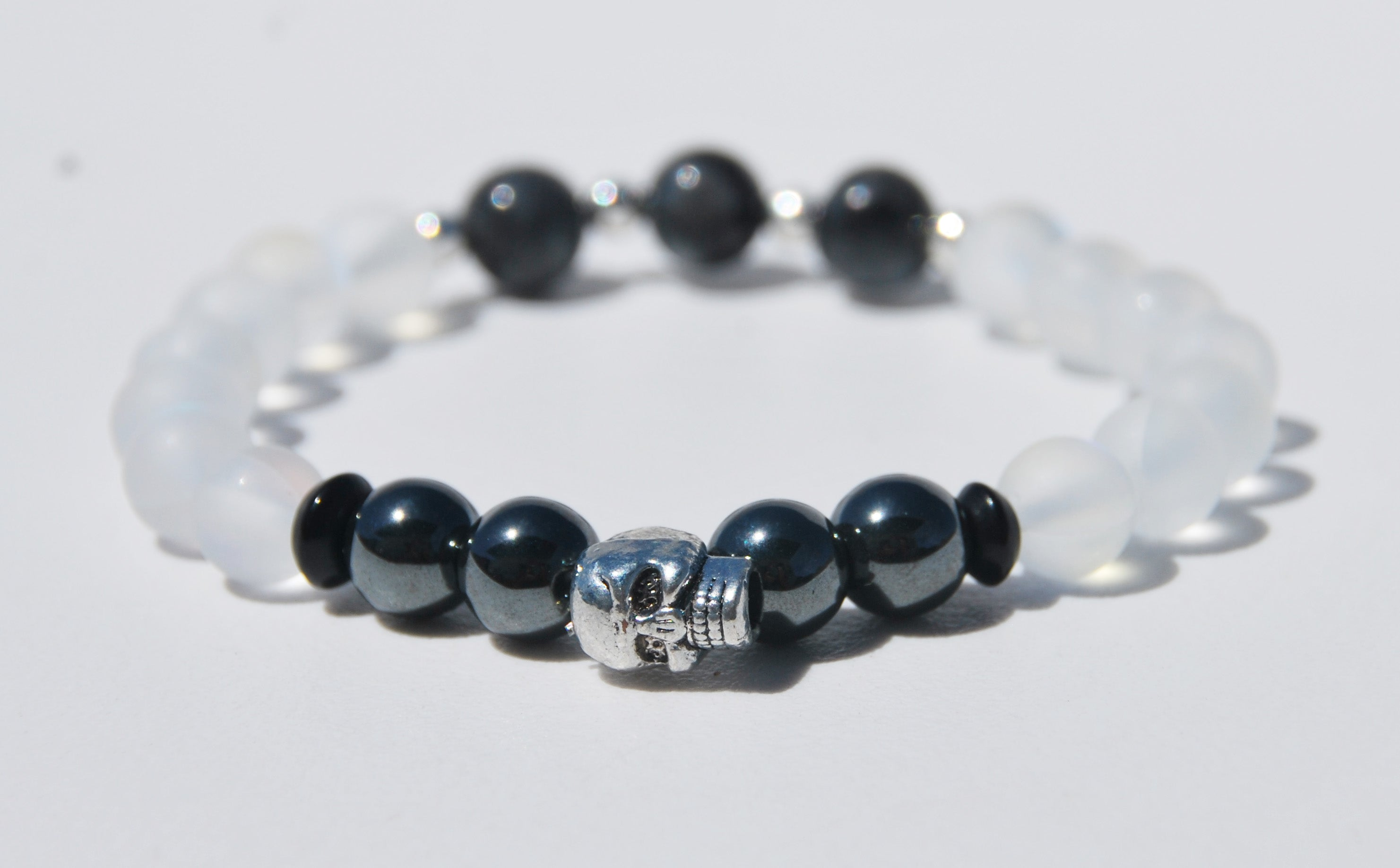 8mm Austrian Crystal, Hematite & Labradorite Stretch Bracelet with Skull