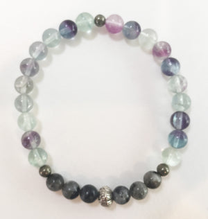 6mm Flourite & Larvikite Stretch Bracelet with Lotus Flower