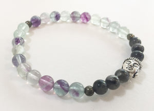 6mm Flourite & Larvikite Stretch Bracelet with Buddha head