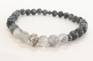 6mm Larvikite & Smokey Quartz Stretch Bracelet with Lotus Flower