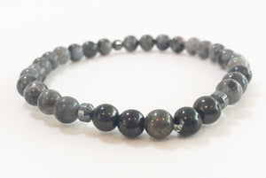 6mm Larvikite, Shungite & Labradorite Stretch Bracelet with Skull