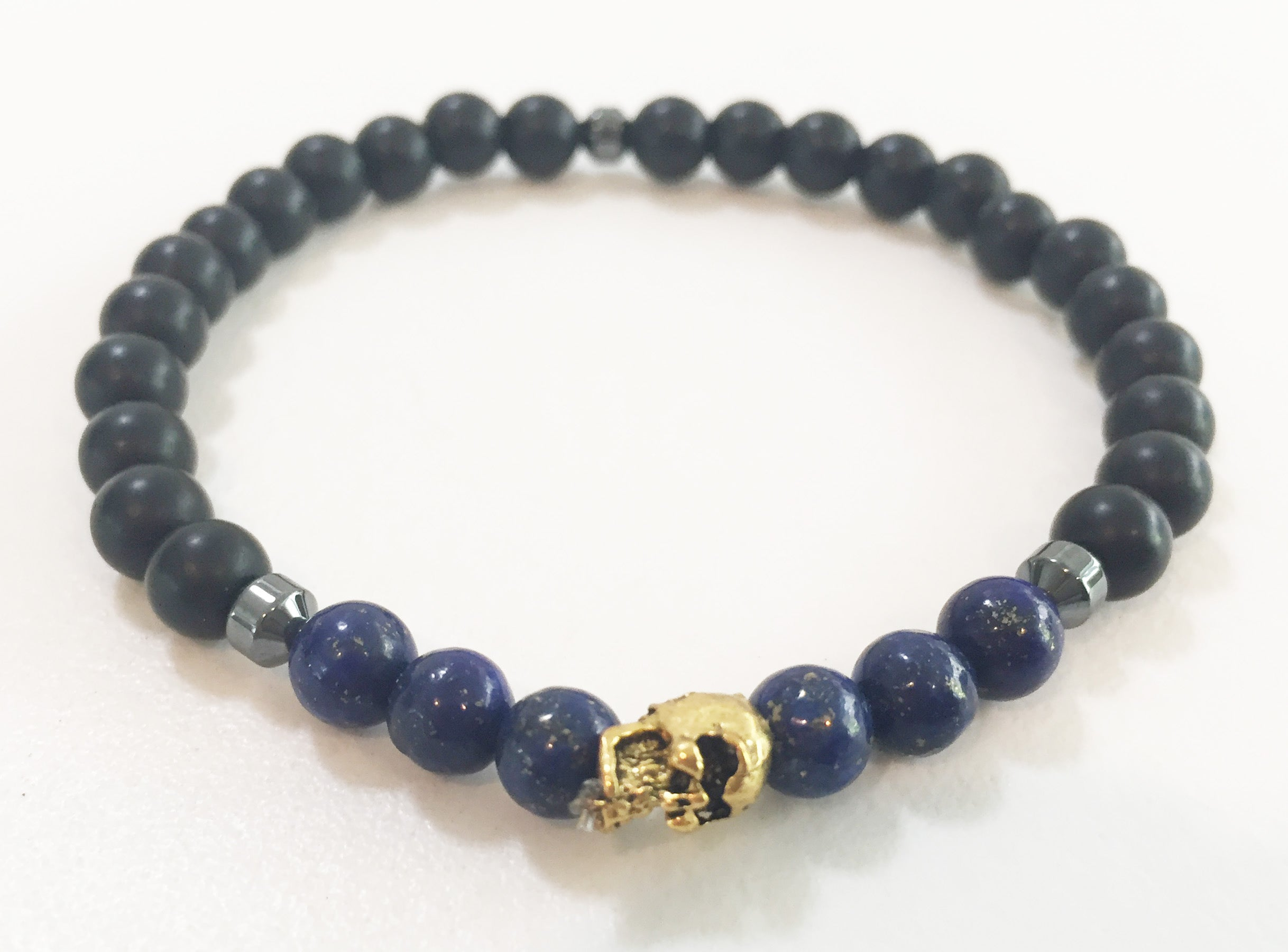 6mm Matte Obsidian & Lapis Lazuli Stretch Bracelet with Skull