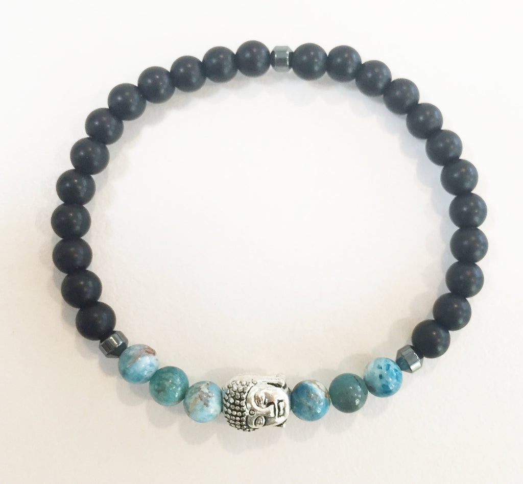 6mm Matte Obsidian & Apatite Stretch Bracelet with Buddha Head