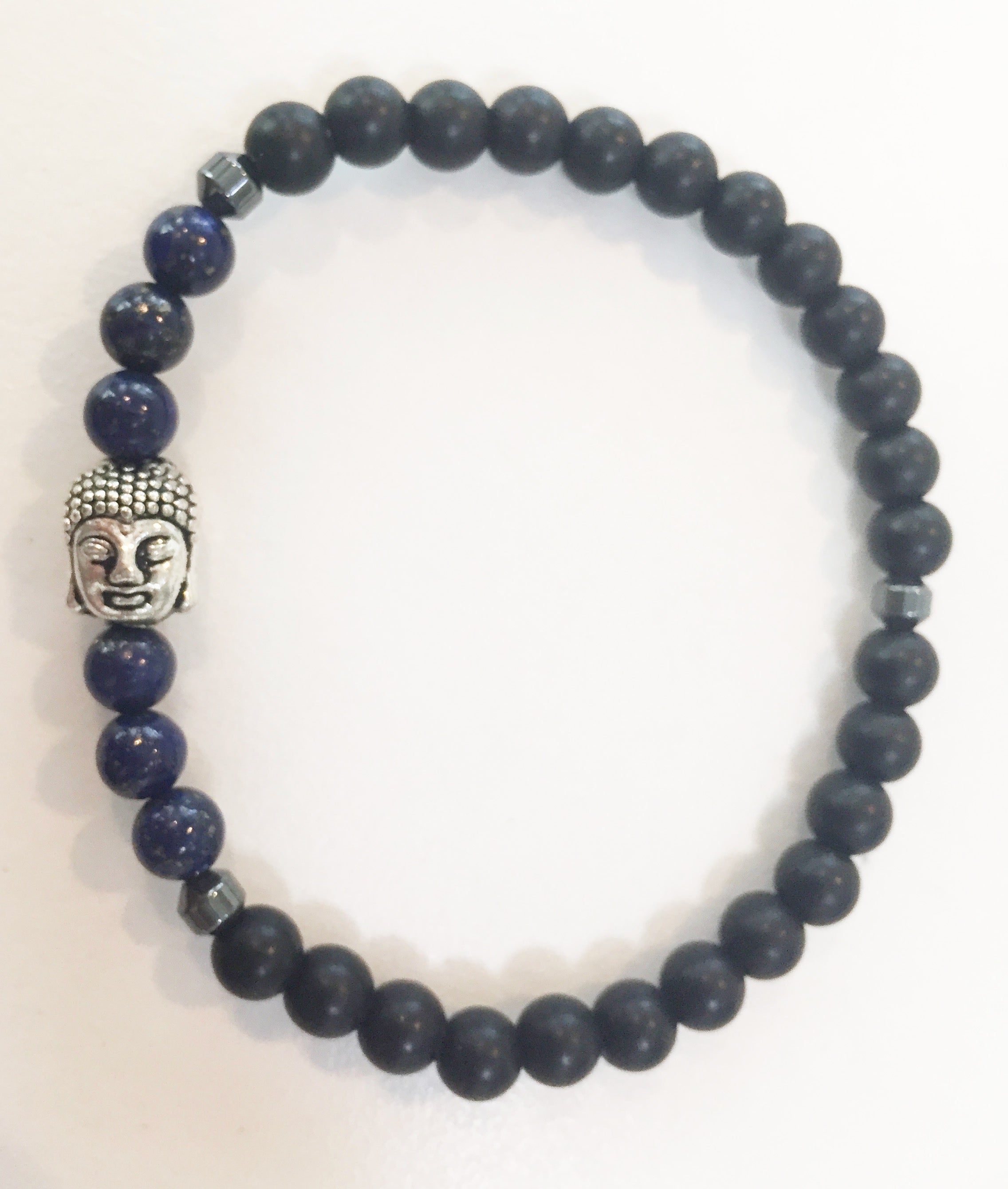 6mm Matte Obsidian & Lapis Stretch Bracelet with Buddha Head