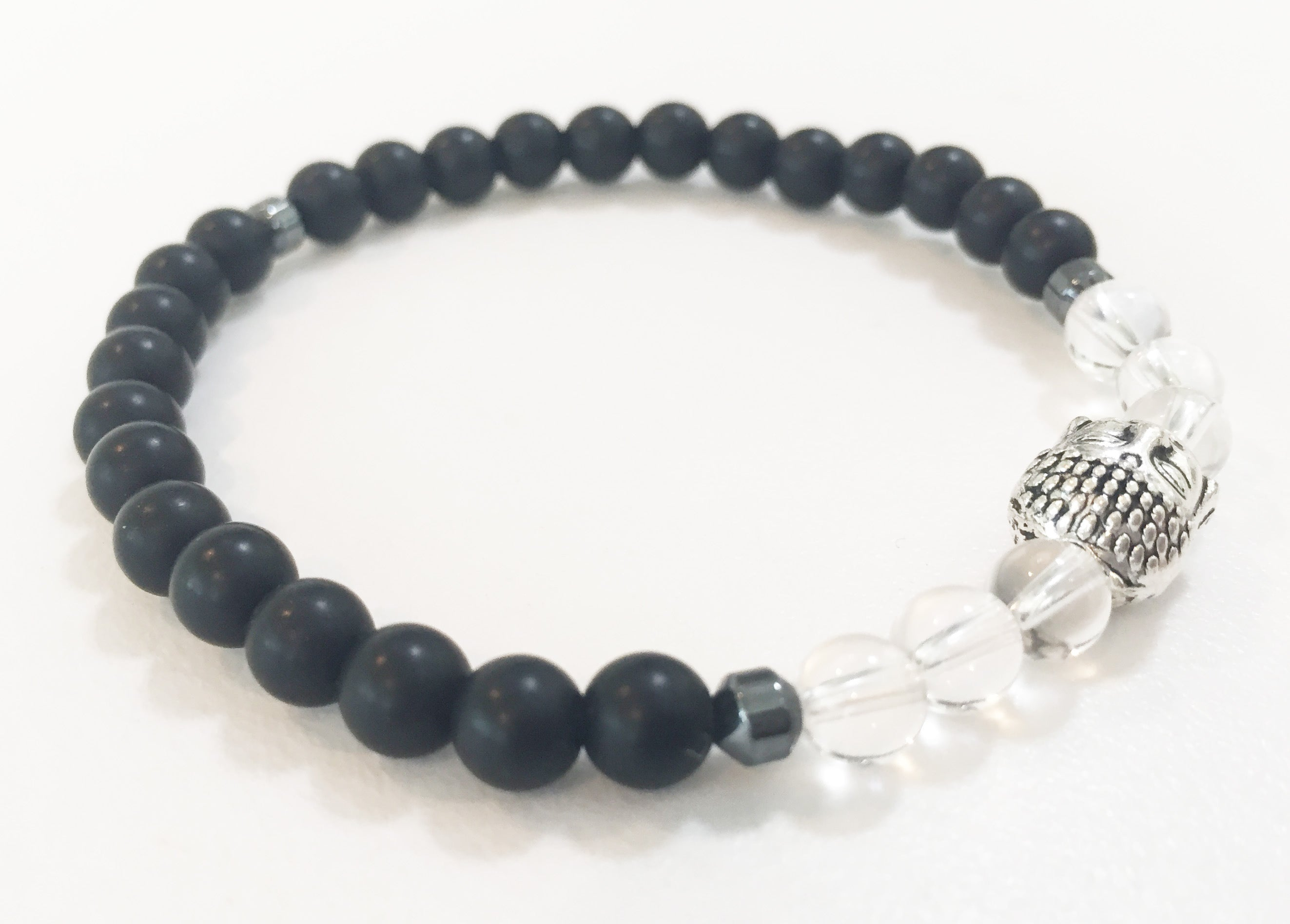 6mm Matte Obsidian & Quartz Crystal Stretch Bracelet with Buddha Head