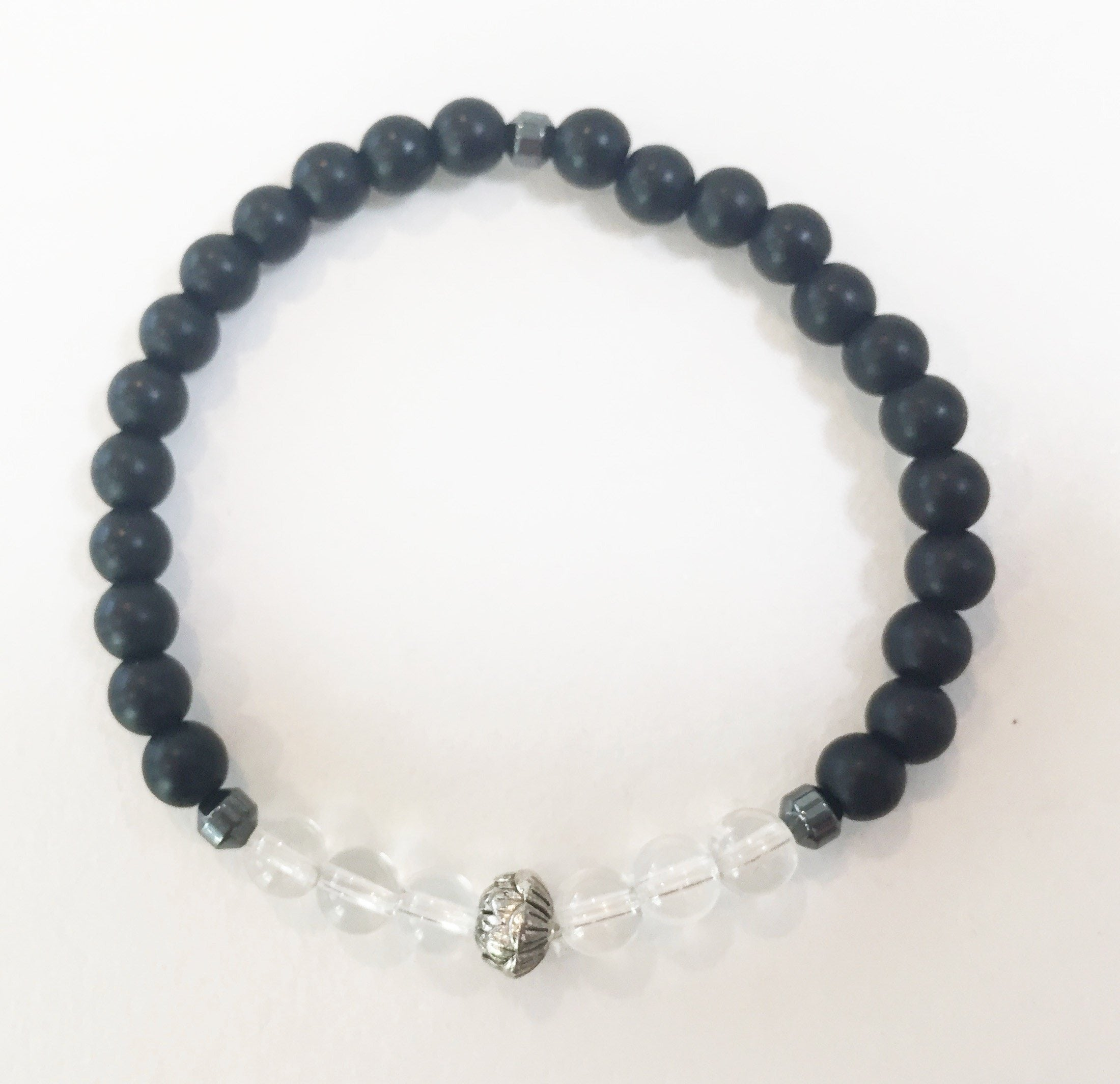 6mm Matte Obsidian & Quartz Crystal Stretch Bracelet with Lotus Flower