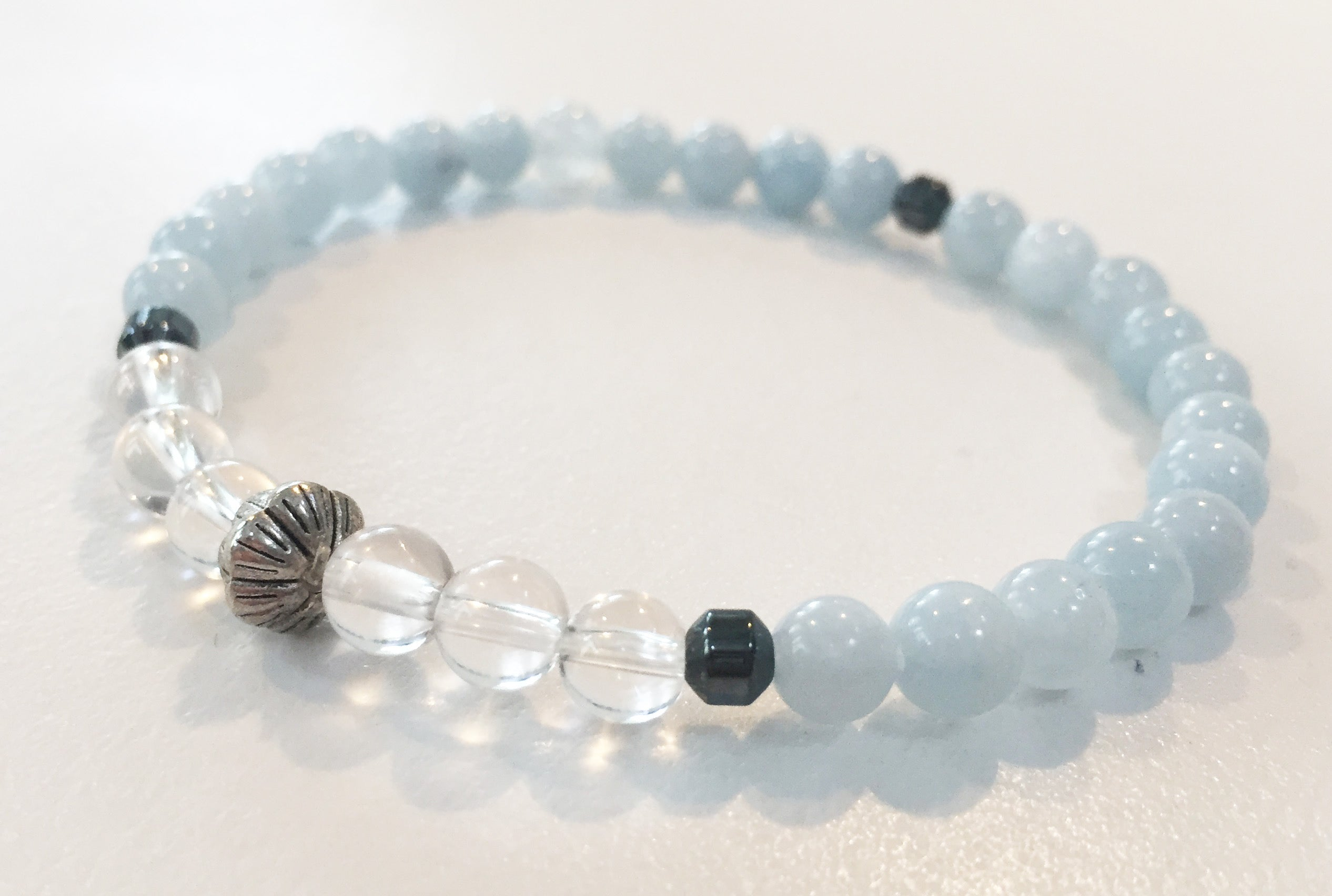 6mm Aquamarine & Quartz Crystal Stretch Bracelet with Lotus Flower