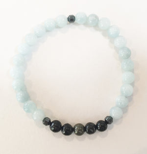 6mm Aquamarine, Shungite and Pyrite Stretch Bracelet