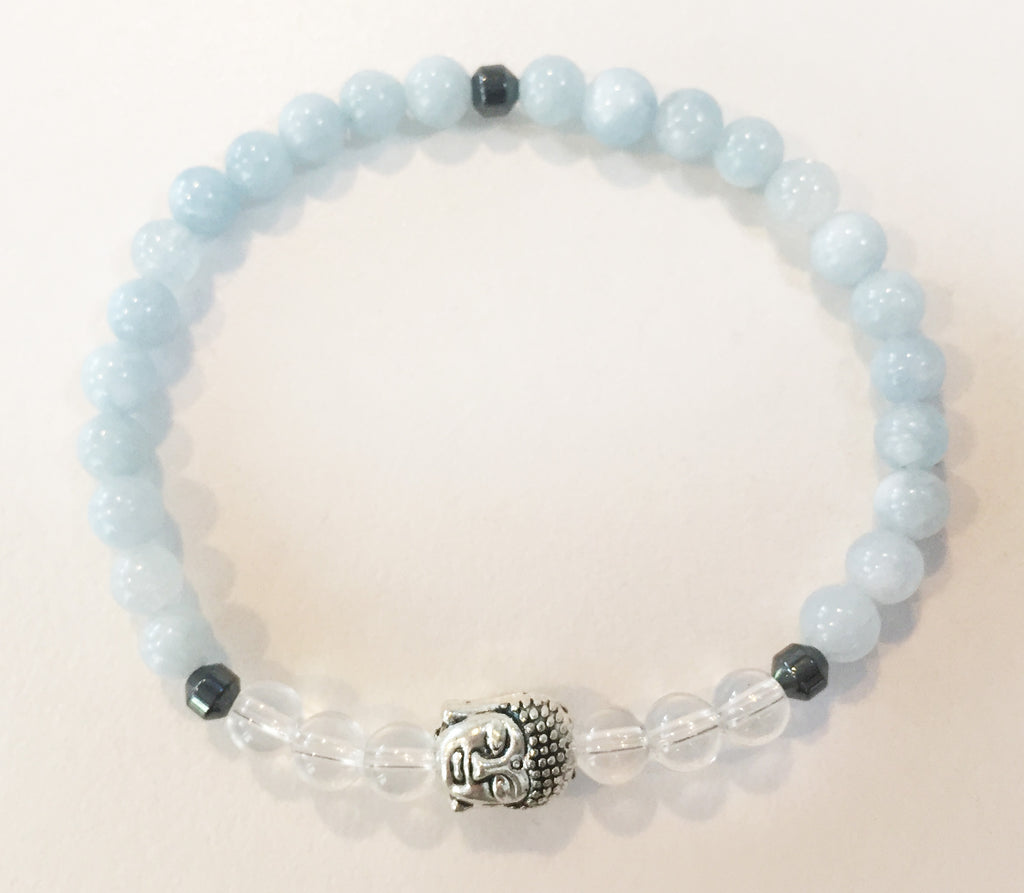 6mm Aquamarine & Quartz Crystal Stretch Bracelet with Buddha Head