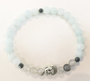 6mm Aquamarine & Smokey Quartz Crystal Stretch Bracelet with Buddha Head