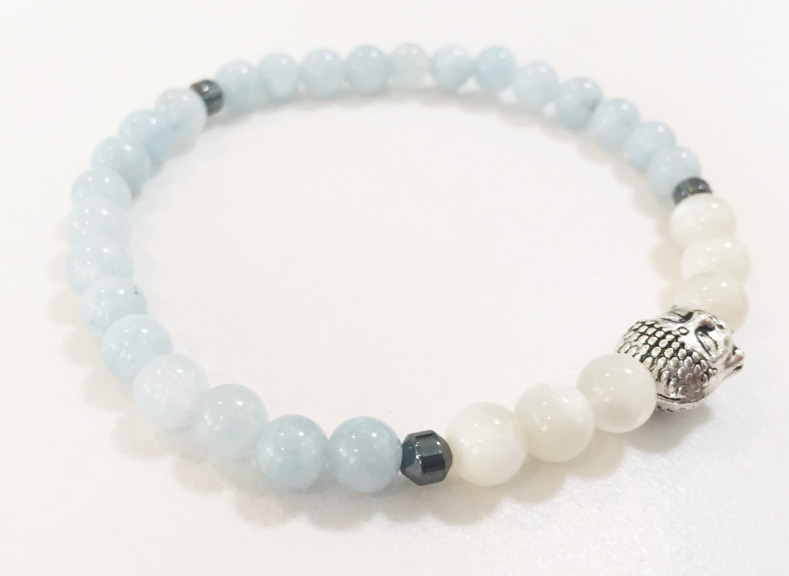 6mm Aquamarine & Moonstone Stretch Bracelet with Buddha Head