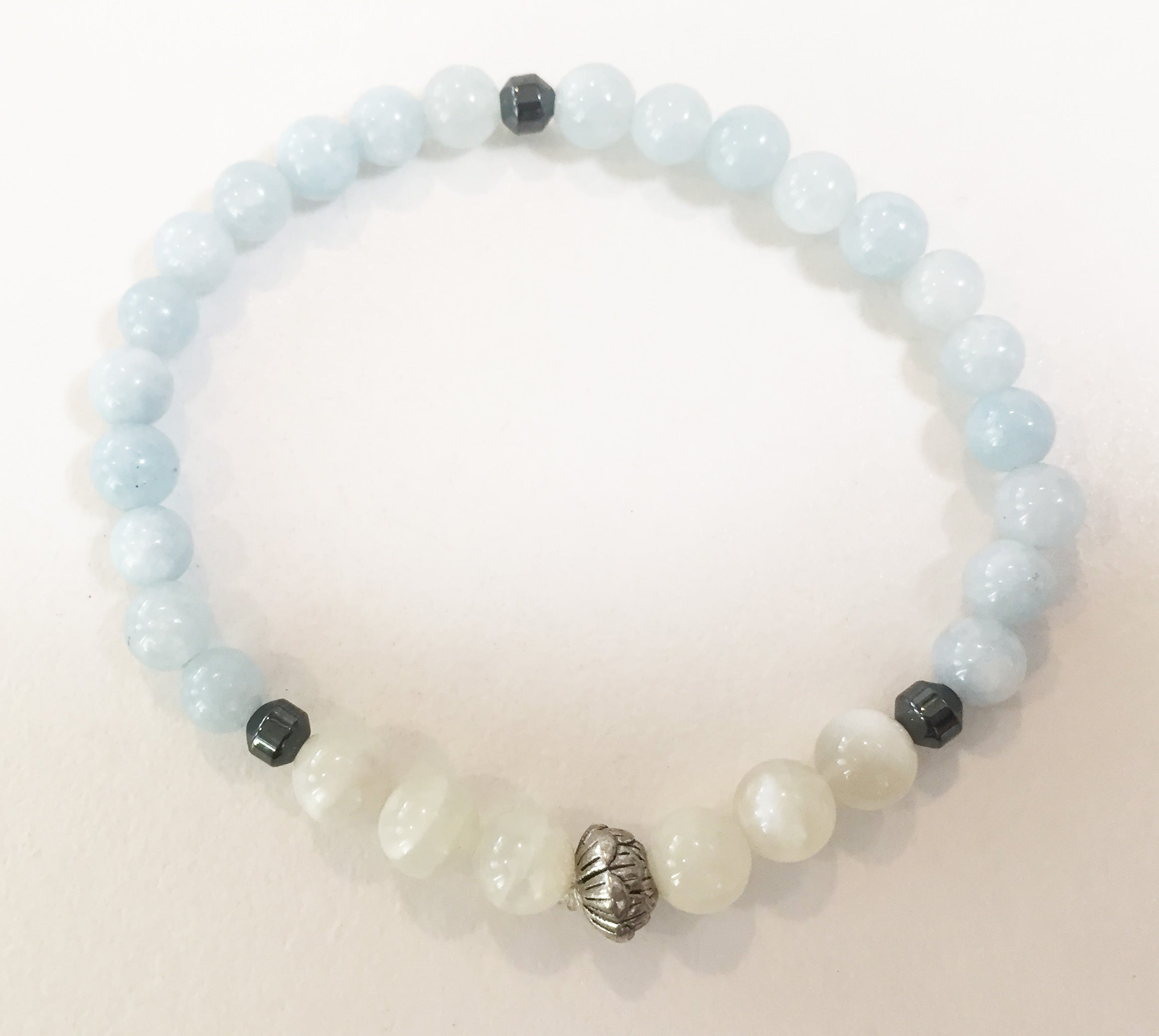 6mm Aquamarine & Moonstone Stretch Bracelet with Lotus Flower