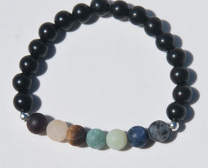 Matte 7 Chakra & Ebony Wood Stretch Mala Bracelet