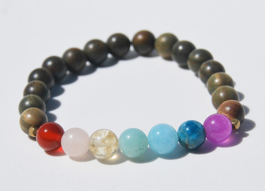 7 Chakra & Green Sandalwood Stretch Mala Bracelet