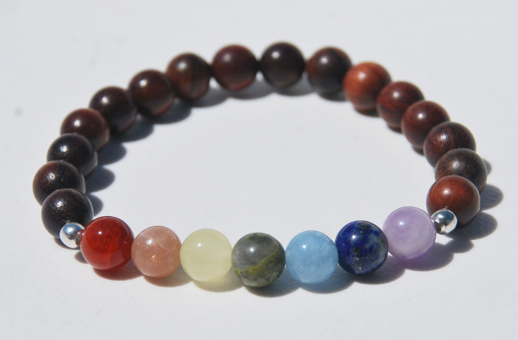 7 Chakra & Red Sandalwood Stretch Mala Bracelet