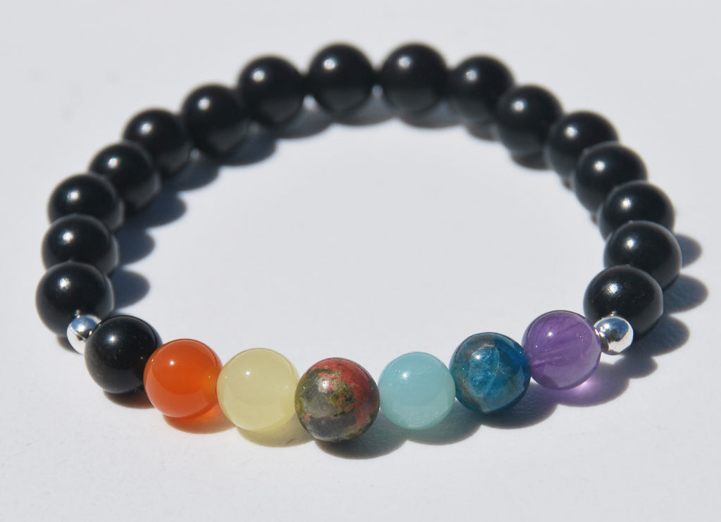 7 Chakra & Ebony wood Stretch Mala Bracelet