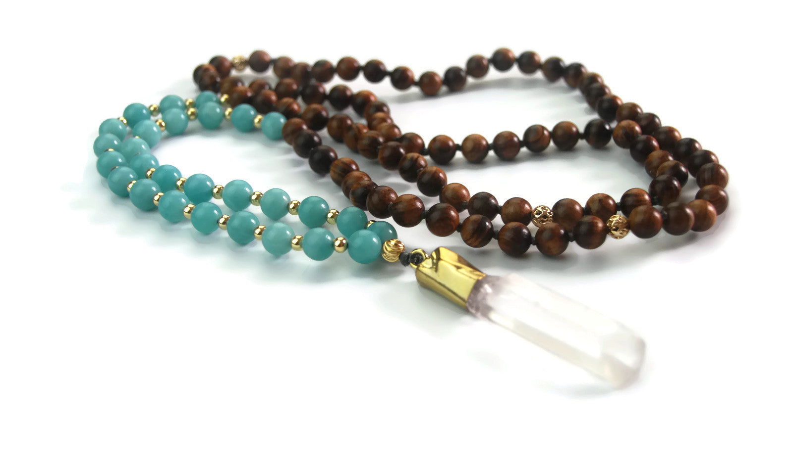Enlightenment Line 8mm Pear Wood Mozambique Amazonite Crystal Quartz Pendant 24k Gold Knotted 108 Meditation Mala Necklace Throat Chakra Draft