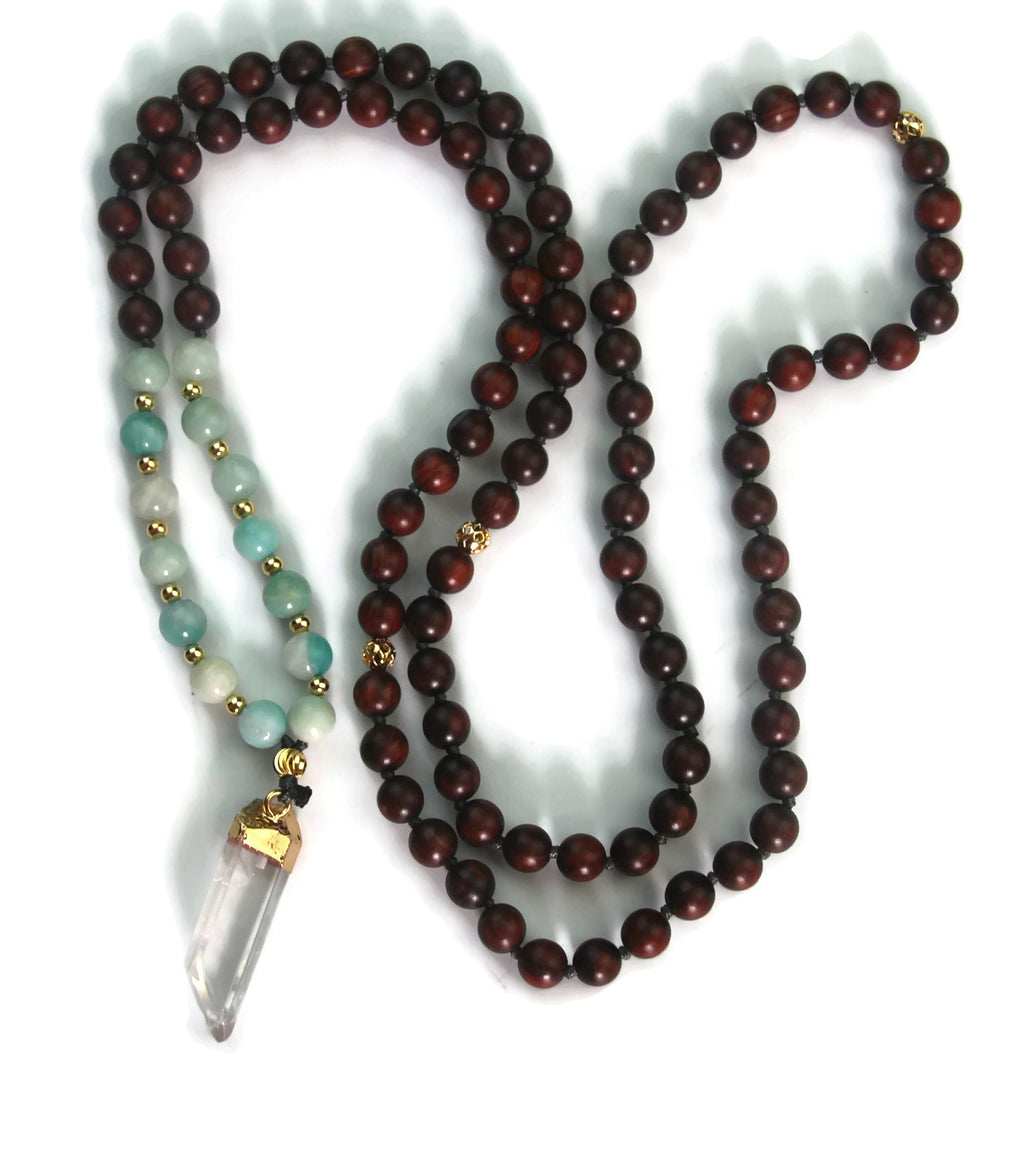 Enlightenment Line 8mm Sandalwood Brazil Amazonite Crystal Quartz Pendant 24k Gold Knotted 108 Meditation Mala Necklace Throat Chakra