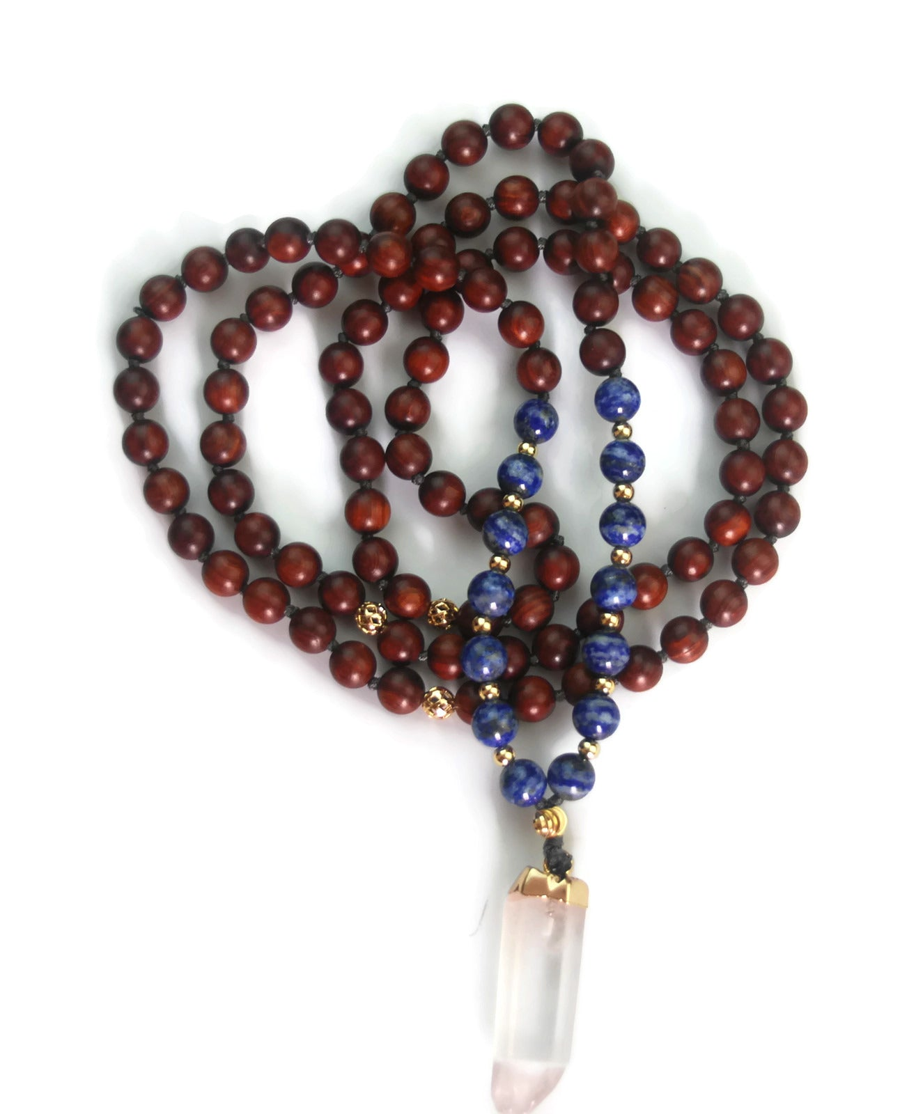 Enlightenment Line 8mm Sandalwood Lapis Crystal Quartz Pendant 24k Gold Knotted 108 Traditional Meditation Mala Necklace Third Eye Chakra
