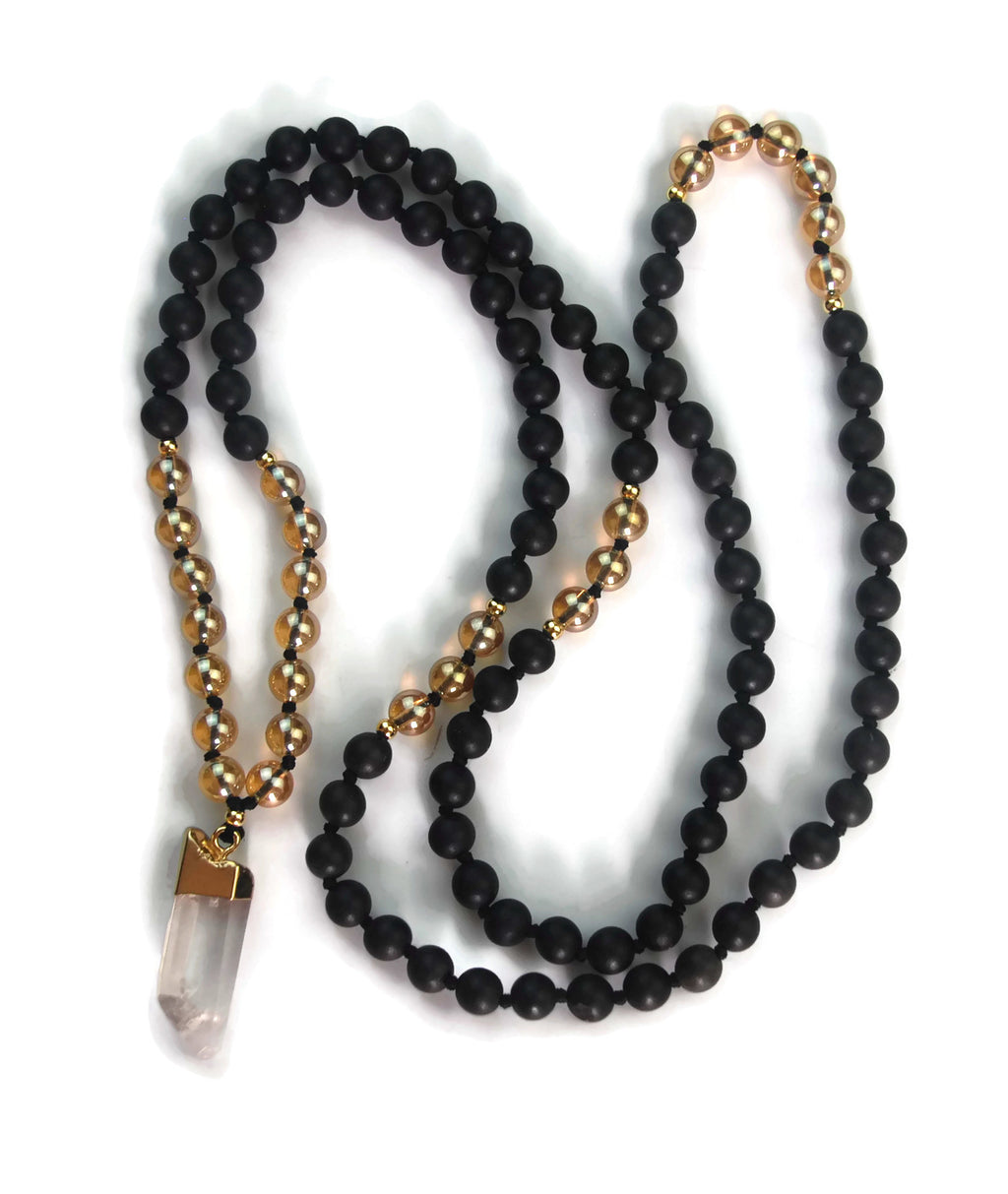 Enlightenment Line 8mm Gold Crystal and Agarwood. gold dipped Crystal Pendant 24k Gold Knotted 108 Meditation Mala Necklace Crown Chakra Draft