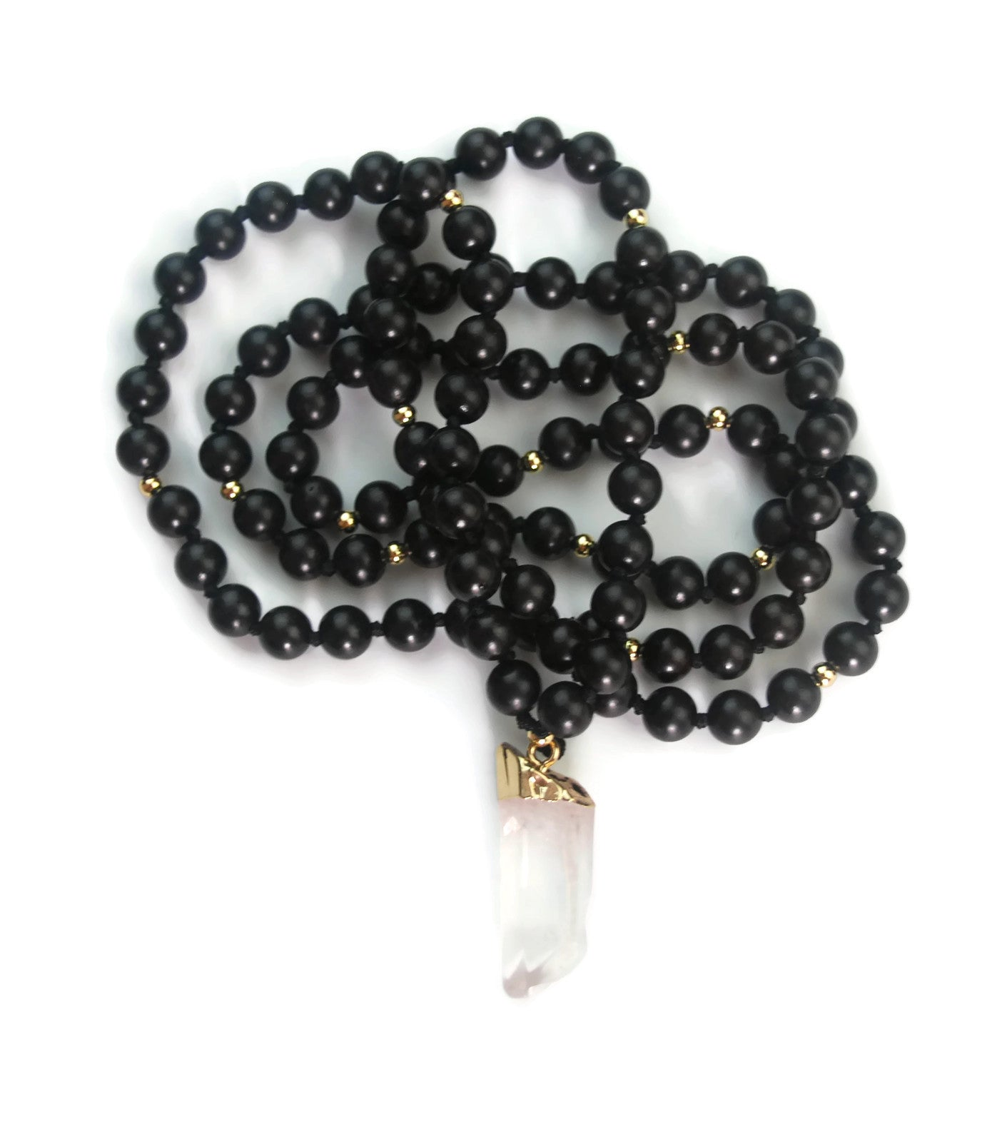 Enlightenment Line 8mm Ebony Wood with Crystal Pendant 24k Gold Knotted 108 Meditation Mala Necklace Crown Chakra