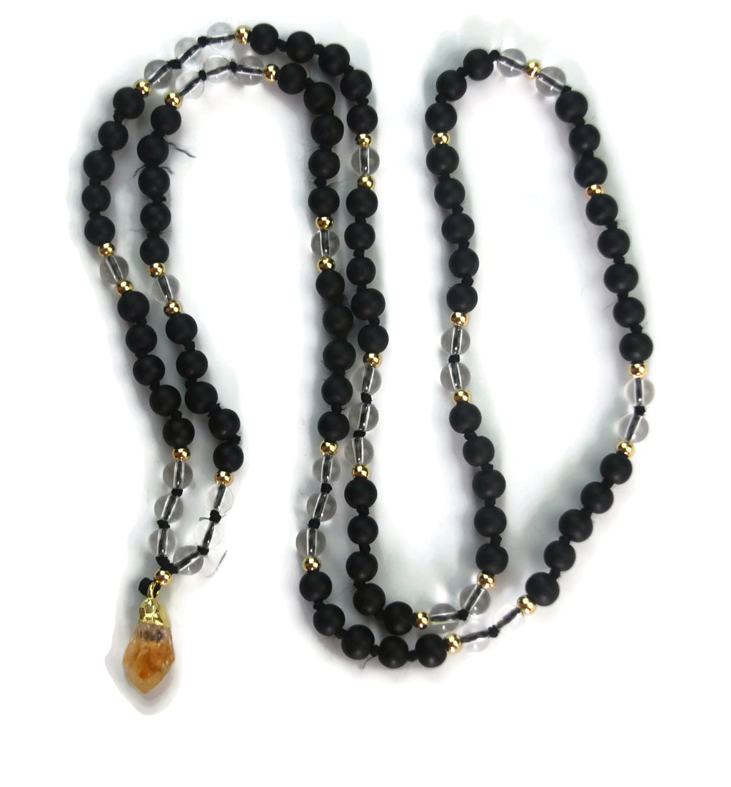 Enlightenment Line 8mm Clear Crystal & Matte Black Obsidian with Citrine Pendant 24k Gold Knotted 108 Meditation Mala Necklace Root Chakra