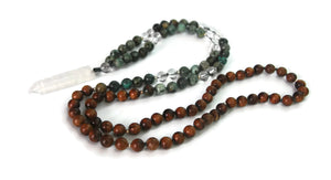 Ascension Line 8mm Pear Wood, African Turquoise Stone & Crystal Pendant Traditional Knotted 108 Bead Meditation Mala Necklace Throat Chakra