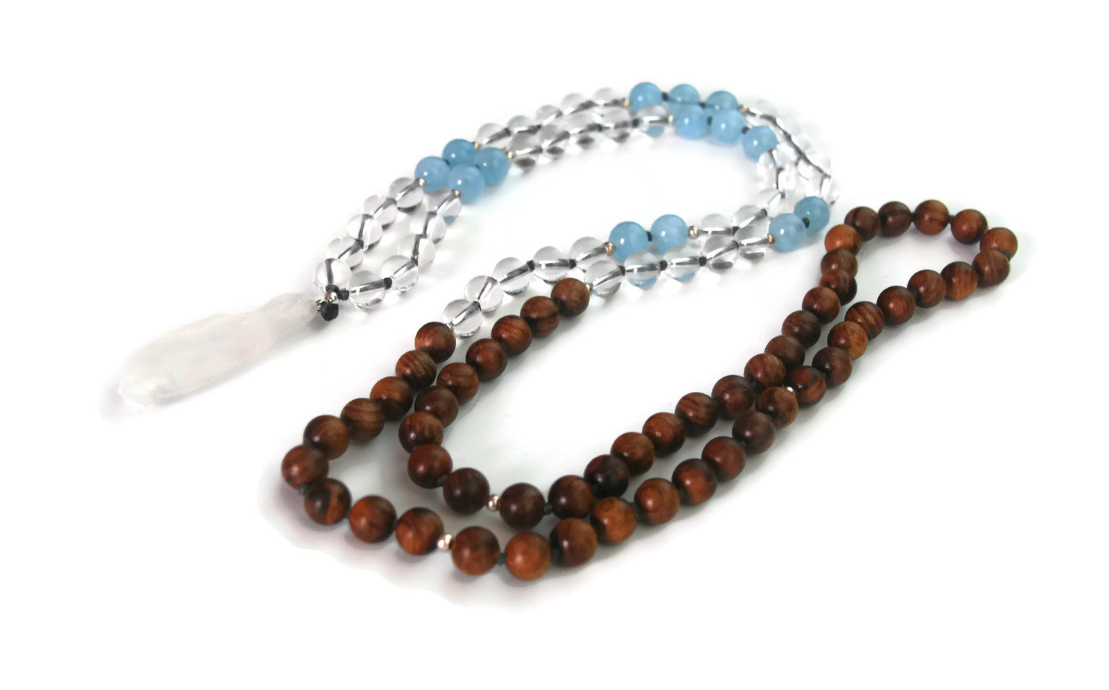 Ascension Line 8mm Pear Wood,  Aquamarine, Clear Crystal & Crystal Pendant Traditional Knotted 108 Bead Meditation Mala Necklace Throat Chakra