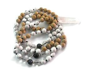 Ascension Line 8mm Sandalwood Wood, Crystal, Labradorite & Crystal Pendant Traditional Knotted 108 Meditation Mala Necklace Throat Chakra