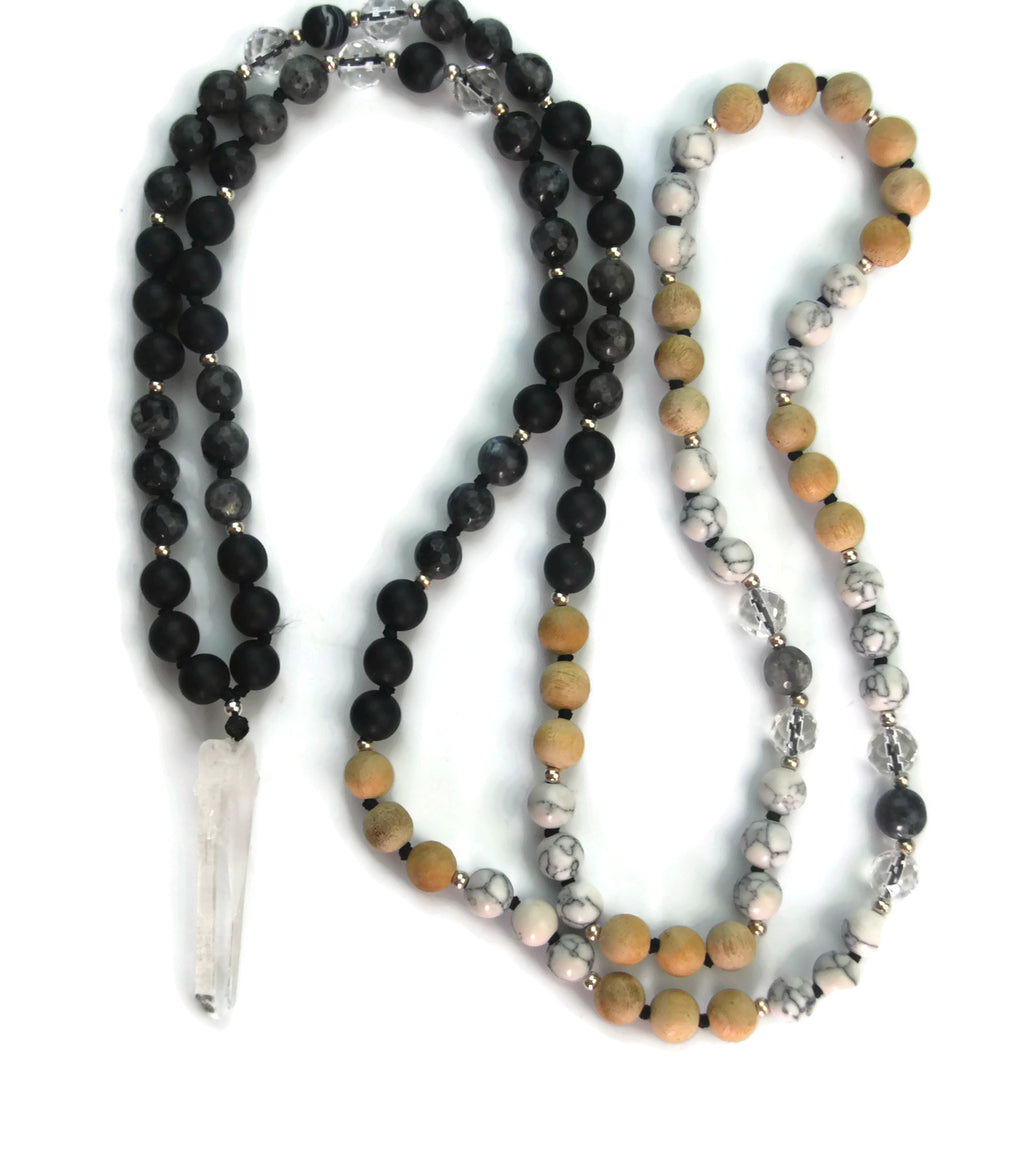 Ascension Line 8mm Sandalwood, White Turquoise, Labradorite, Matte Obsidian & Crystal Pendant Knotted 108 Meditation Mala Necklace