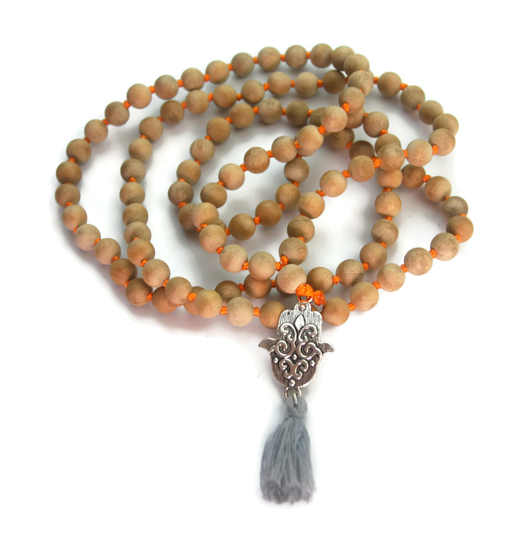 Hamsa Line 8mm Gold Sandalwood Traditional Knotted 108 Meditation Mala Necklace with Hamsa Charm Pendant