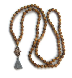 Hamsa Line 8mm Striped Agarwood Traditional Knotted 108 Meditation Mala Necklace with Hamsa Charm Pendant