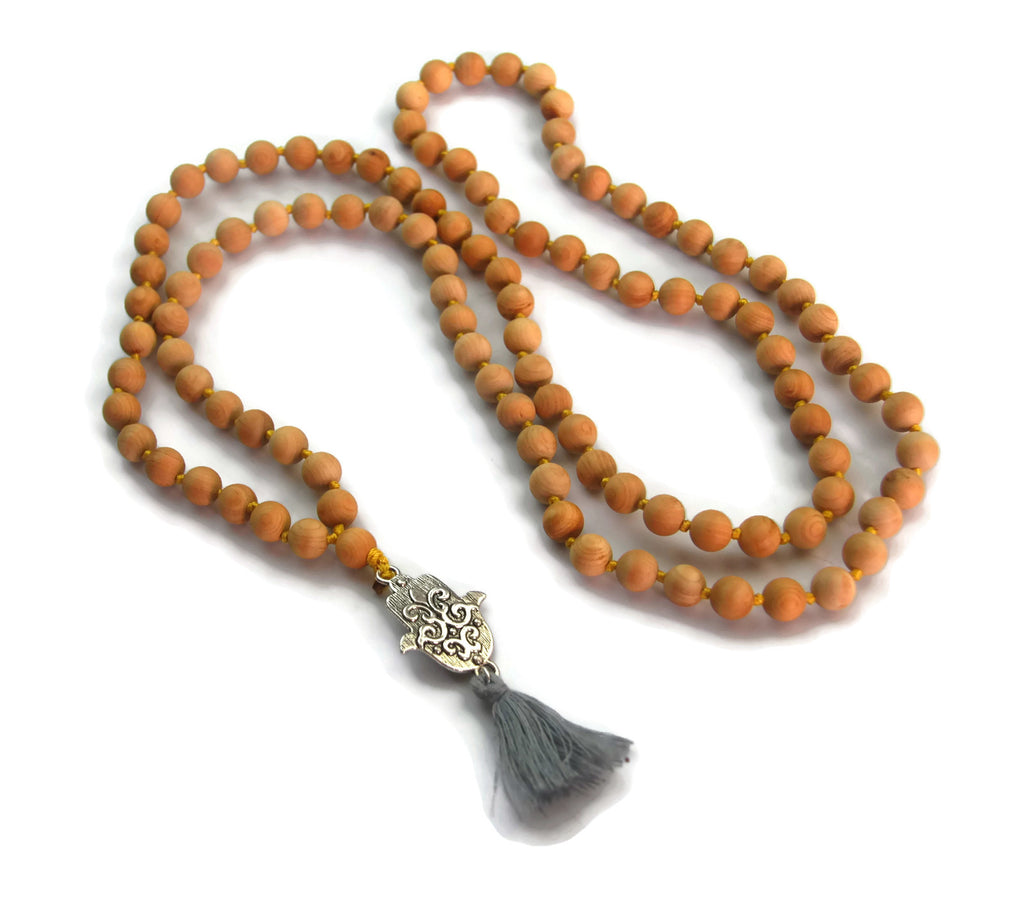 Hamsa Line 8mm Cypress Sandalwood Traditional Knotted 108 Meditation Mala Necklace with Hamsa Charm Pendant