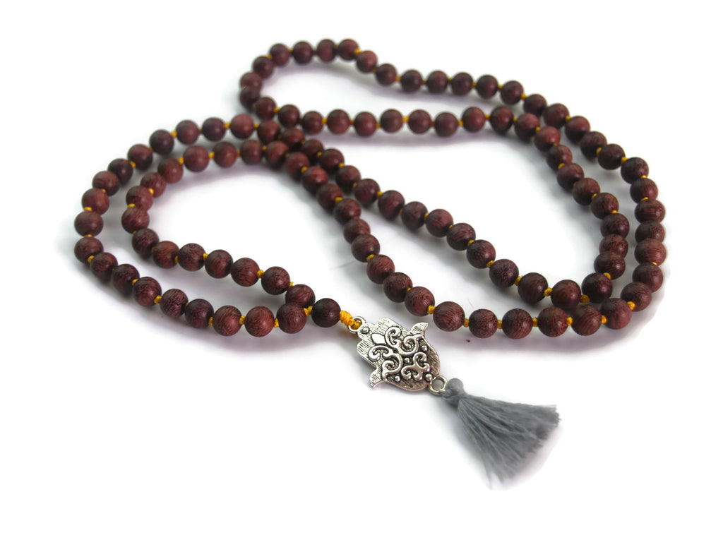 Hamsa Line 8mm Violet Sandalwood Traditional Knotted 108 Meditation Mala Necklace with Hamsa Charm Pendant
