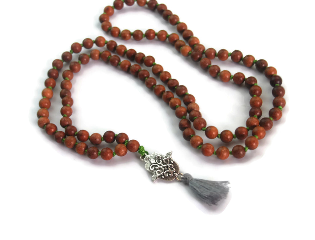 Hamsa Line 8mm Myanmar Pear Wood Traditional Knotted 108 Meditation Mala Necklace with Hamsa Charm Pendant