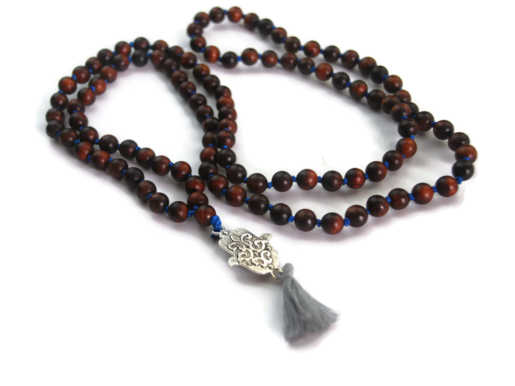Hamsa Line 8mm Sandalwood Traditional Knotted 108 Meditation Mala Necklace with Hamsa Charm Pendant